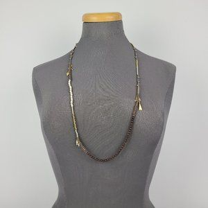 Stella & Dot Brown & Gold Beaded Necklace
